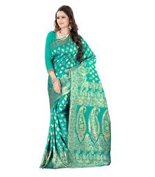 Buy turquoise embroidered banarasi silk saree With Blouse banarasi-silk-saree online