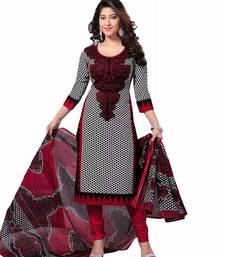 Buy White and black printed micro cotton unstitched salwar with dupatta dress-material online