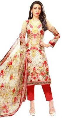 Cream Lawn Cotton Unstitched Salwar With Dupatta