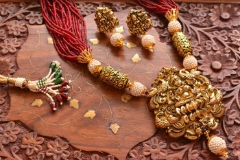 Temple Jewellery with pearl & semi-precious stone Grand gold plated Necklace Set