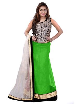 4d7dfe98e91f2a Green embroidered net unstitched lehenga choli - Greenvilla designs ...