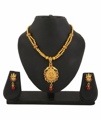 Goddess Laxmi Gold Plated Temple Jewellery Necklace Earrings Set For Women