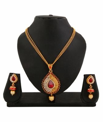 Gold Plated Red Pendant Earrings Set For Women