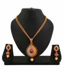 Buy Gold plated Red Pendant Earrings Set for women Pendant online