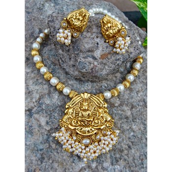 Bunched Pearl Laxmi South Indian Necklace Set with Pearl Mala