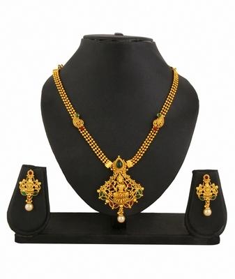 Temple Jewellery Goddess Laxmi Necklace Earrings Set for women