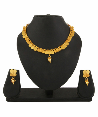 Goddess Laxmi Necklace Earrings Set Temple Jewellery for women