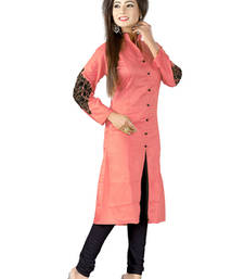 Buy Peach embroidered cotton kurti kurtas-and-kurti online