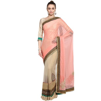 Pink printed lycra saree With Blouse