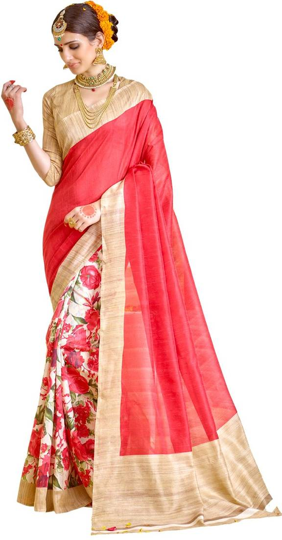 Buy Red And Beige Printed Raw Silk Saree With Blouse Online