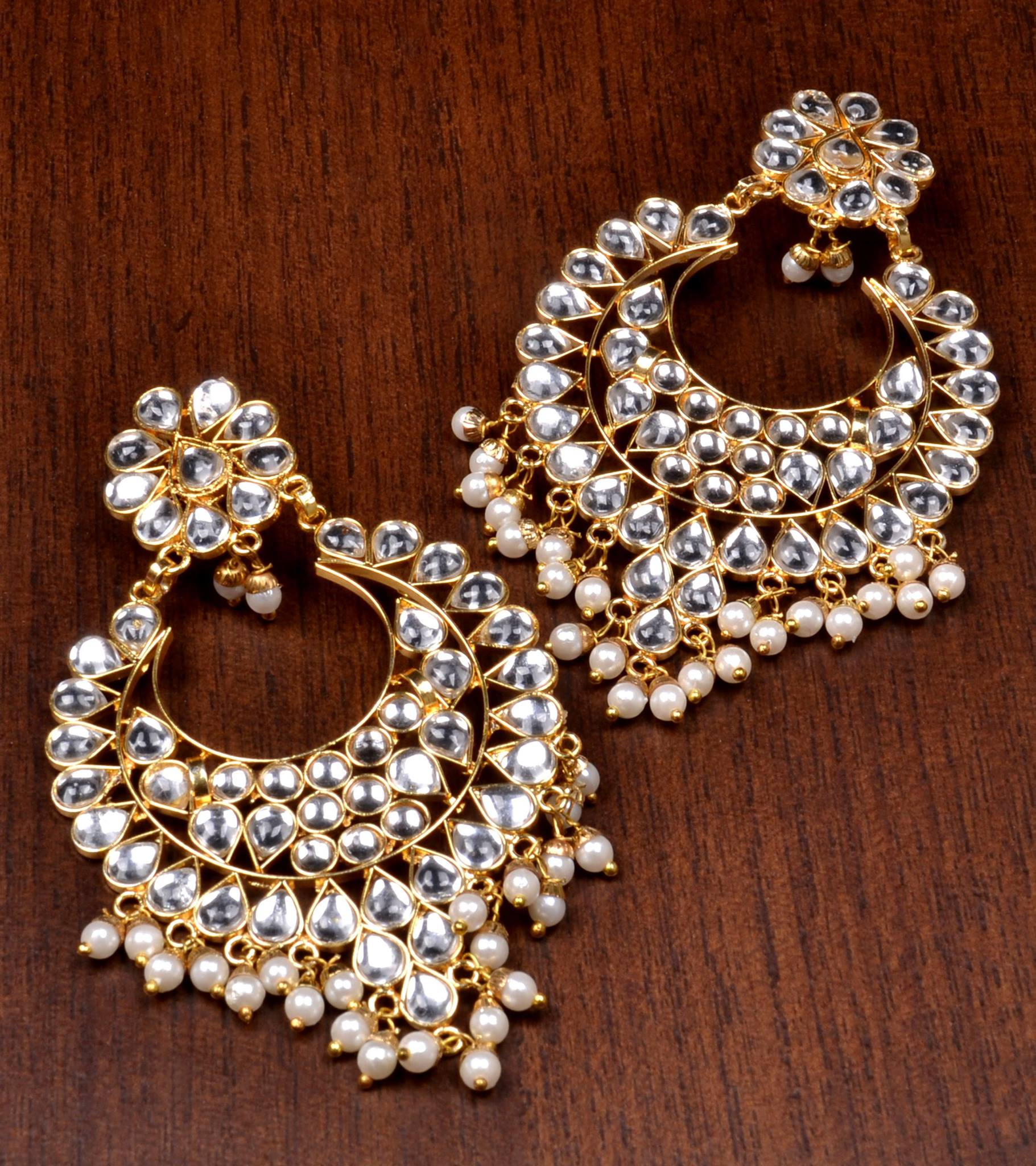 64 Off Kundan Embellished Dangler Earrings 217ed82 Women Ethnic Wear Online