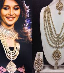 Buy Madhuri dixit famous look-a-like jewelry set in white necklace-set online