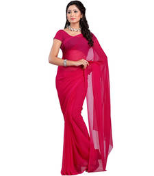 Buy Red plain georgette saree With Blouse below-400 online
