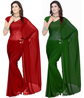 Red and green plain georgette saree With Blouse