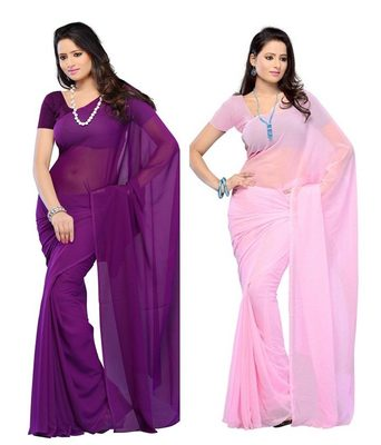 Purple and pink plain georgette saree With Blouse