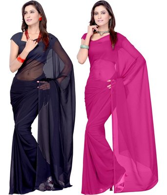 Pink and black plain georgette saree With Blouse