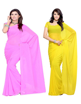 Pink and Yellow plain georgette saree with blouse