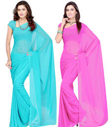 Buy Blue and Pink plain georgette saree with blouse sarees-combo-sari online