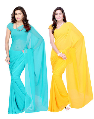 Blue and Yellow plain georgette saree with blouse