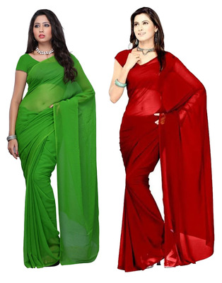 Green and Red plain georgette saree with blouse