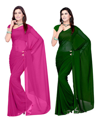 Pink and Green plain georgette saree with blouse