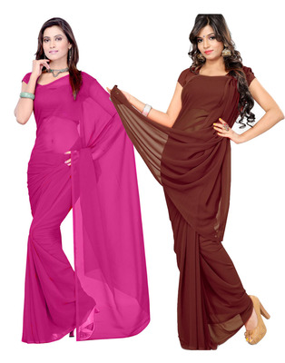 Pink and Brown plain georgette saree with blouse
