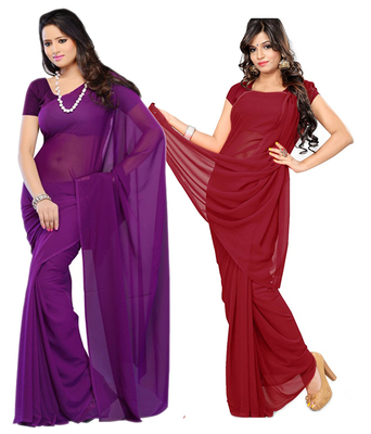 Purple and Maroon plain georgette saree with blouse