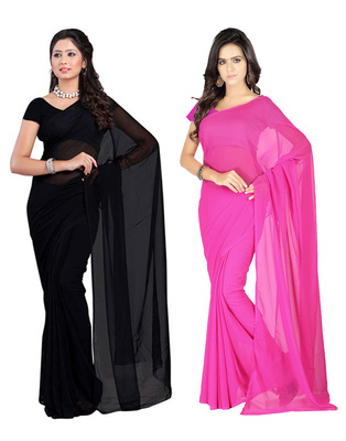 Black and Pink plain georgette saree with blouse