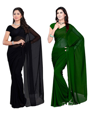 Black and Green plain georgette saree with blouse