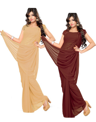 Beige and Brown plain georgette saree with blouse