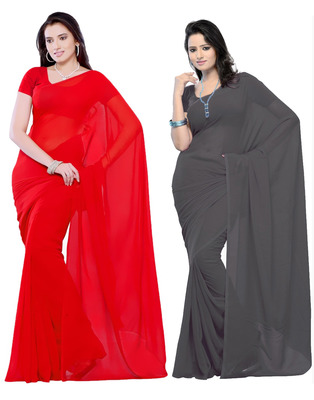 Red and Grey plain georgette saree with blouse