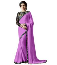 Buy Purple embroidred chiffon saree with blouse satin-saree online