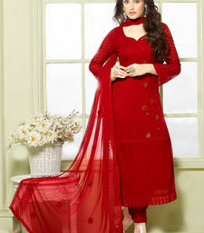 Buy Red chiffon and nazneen embroidered unstitched salwar with dupatta dress-material online