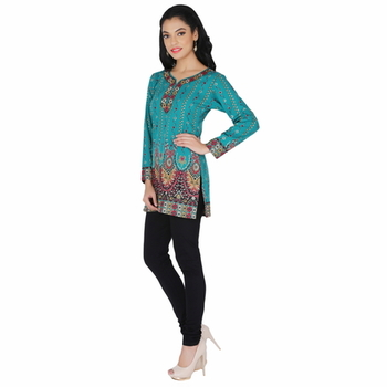 Blue american crepe printed stitched kurti