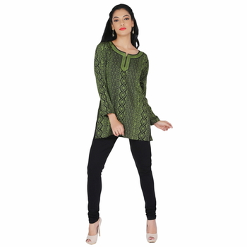 Black and green american crepe printed stitched kurti