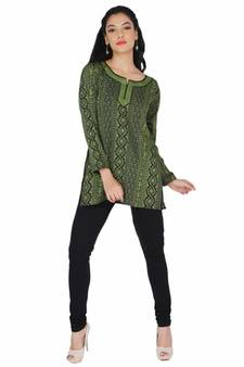 384604ce28f5 Black and green american crepe printed stitched kurti
