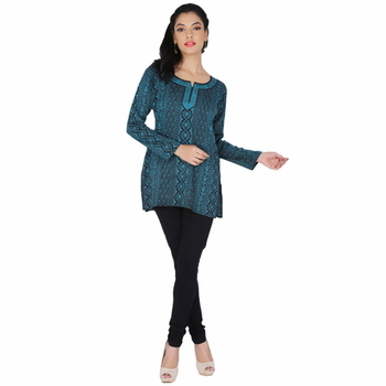 Black and blue american crepe printed stitched kurti