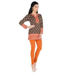 Orange american crepe printed stitched kurti