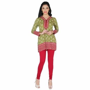 Green american crepe printed stitched kurti