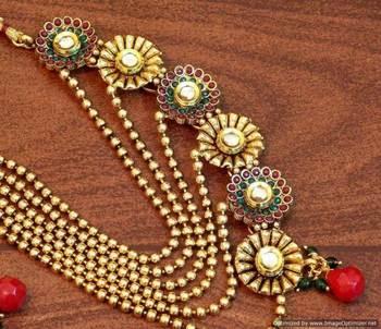 Stylish ethnic half and half pearl polki necklace set