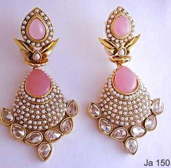 Pink Stone Kundan Earrings