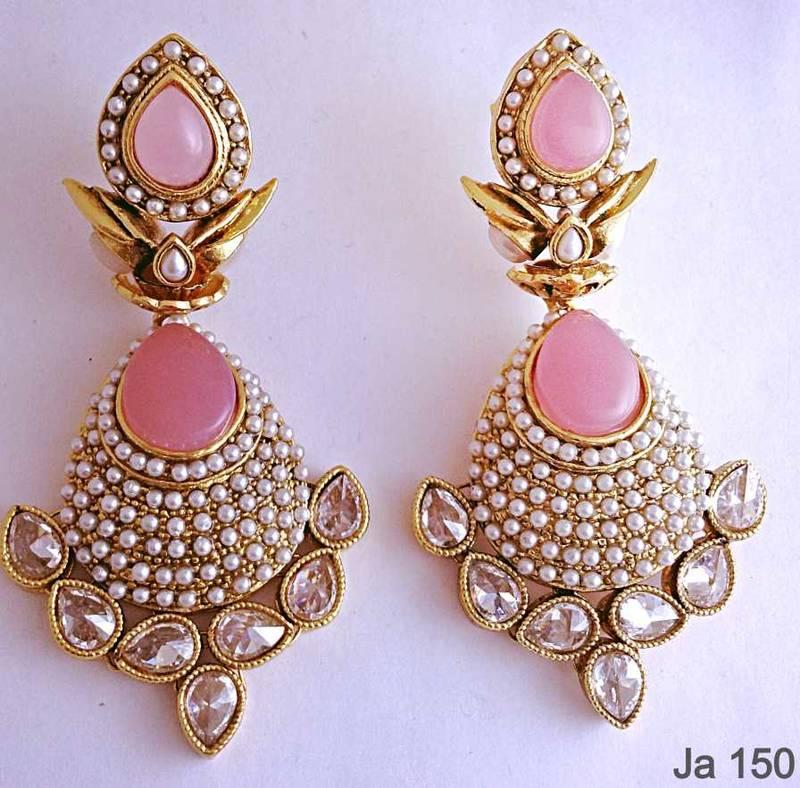 Buy Pink Stone Kundan Earrings Online
