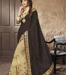 Buy Brown embroidered brasso saree With Blouse brasso-saree online