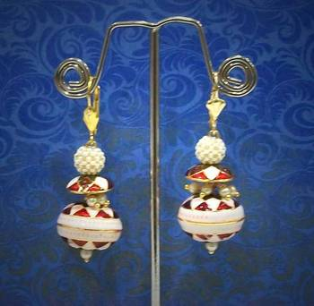 Meenakari mini saucer & ball earring