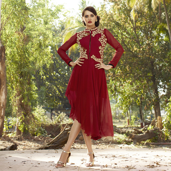 Red Embroidered Georgette Kurti