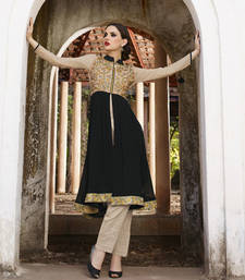 Black and cream embroidered georgette kurti