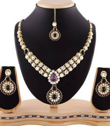 Attractive Design Gold Finishing Purple Austrian Stone Necklace Set With Maang Tikka