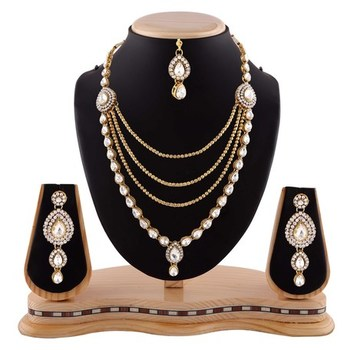 Auatrian Stone Four Layer Gold Finishing Party Wear Necklace Set With Maang Tikka