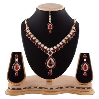 Maroon Austrian Stone Party Wear Gold Finishing Necklace Set With Maang Tikka