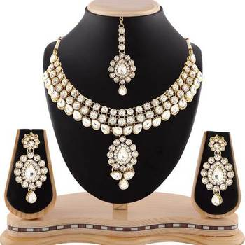 Wedding Wear Austrian Stone Gold Finishing Necklace Set With Maang Tikka